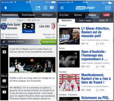 Capture d'écran Eurosport iOS