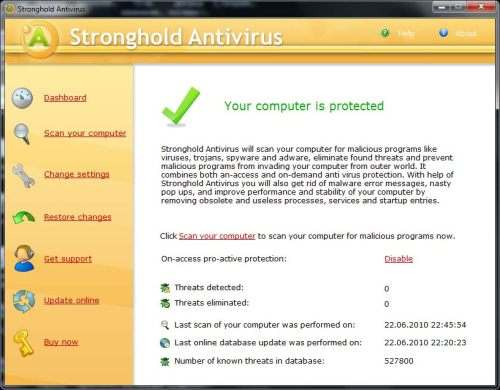Capture d'écran Stronghold Antivirus