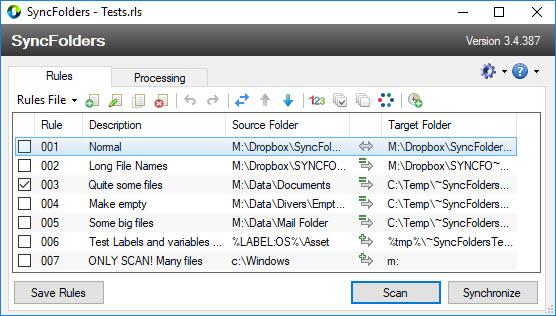 Capture d'écran SyncFolders