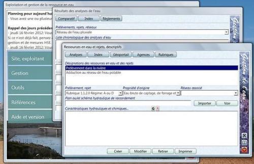 Capture d'écran Suite pour la gestion de l'eau