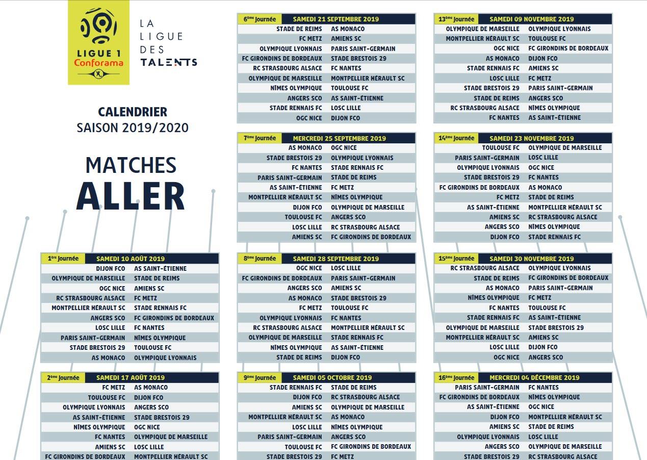 Capture d'écran Calendrier Ligue 1 PDF 2019-2020