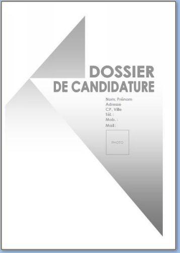 Capture d'écran Page de garde dossier de candidature