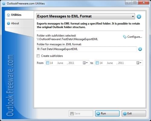 Capture d'écran Export Outlook Messages to EML Format