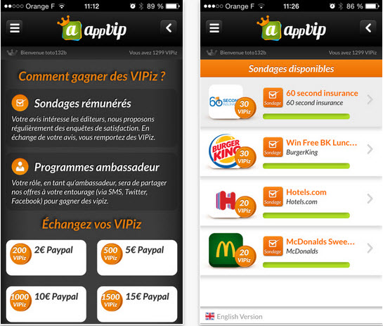 Capture d'écran AppVIP Android
