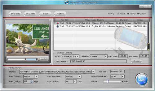 Capture d'écran WinX Free DVD to PSP Ripper