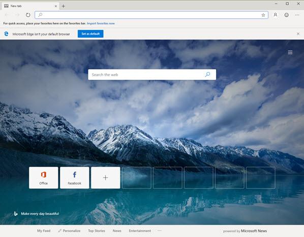 Capture d'écran Microsoft Edge