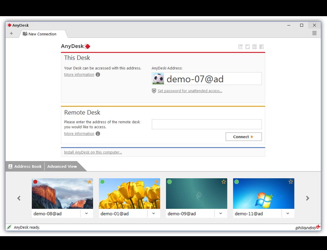 Capture d'écran AnyDesk Mac