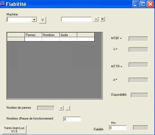 Capture d'écran Fiabilité