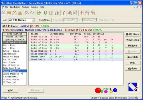 Capture d'écran LotWin Lottery Line Builder