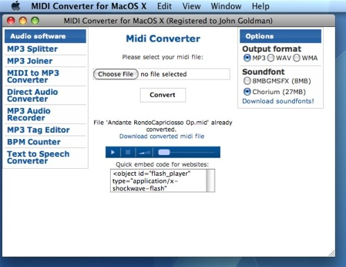 Capture d'écran Midi Converter for Mac