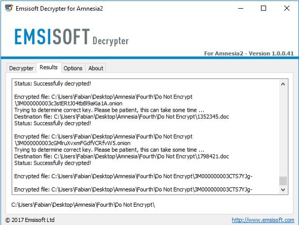 Capture d'écran Emsisoft Decrypter Tools