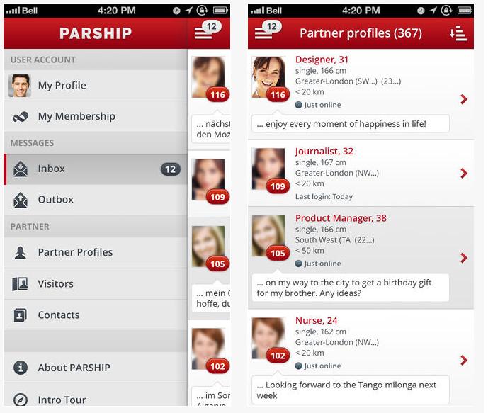 Capture d'écran Parship iOS
