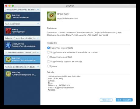 Capture d'écran Cisdem ContactsMate pour Mac