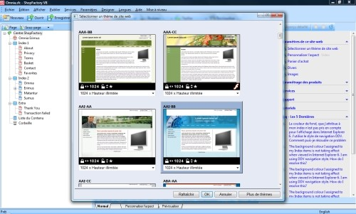 Capture d'écran ShopFactory
