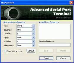 Capture d'écran Serial Port Terminal