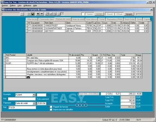 Capture d'écran Gestion de Stock et facturation EasyForYou