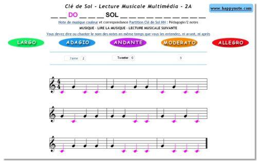 Capture d'écran Lecture Musicale PDF Clé de Sol