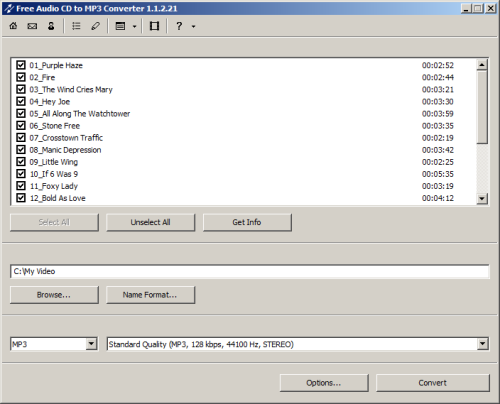 Capture d'écran Free Audio CD to MP3 Converter