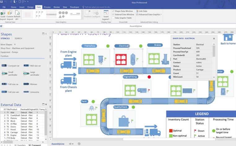 Capture d'écran Microsoft Visio Professionnel 2016