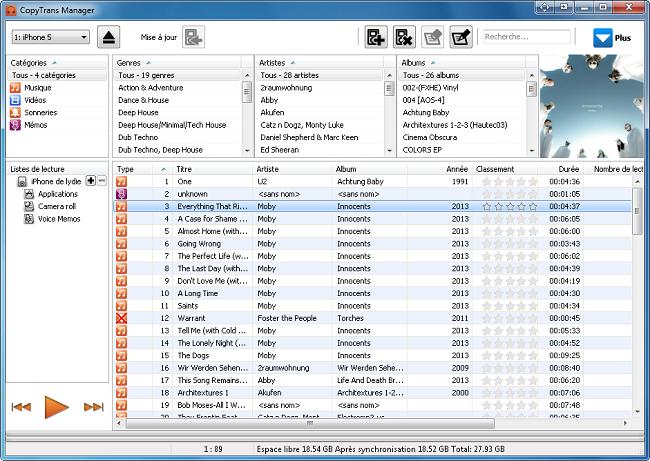 Capture d'écran CopyTrans Manager