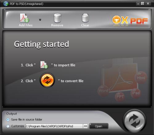 Capture d'écran OX PDF en PSD Convertisseur