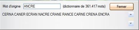 Capture d'écran anagramme