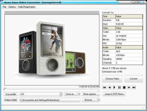 Capture d'écran Avex Zune Video Converter