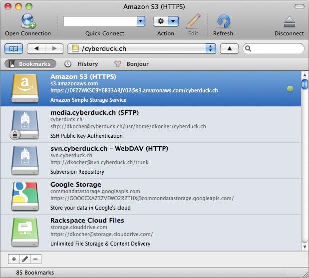 Capture d'écran Cyberduck Mac