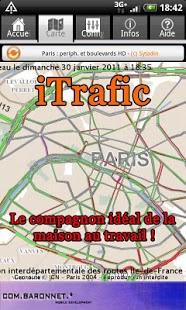 Capture d'écran ITrafic : trafic temps réel