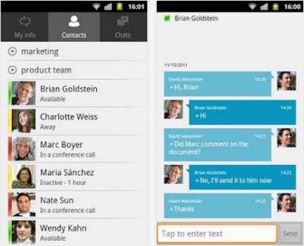 Capture d'écran Lync 2010 Android