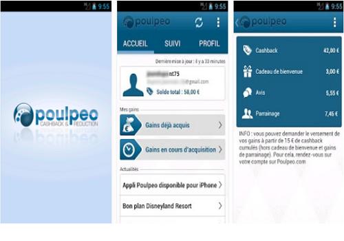 Capture d'écran Poulpeo iOS