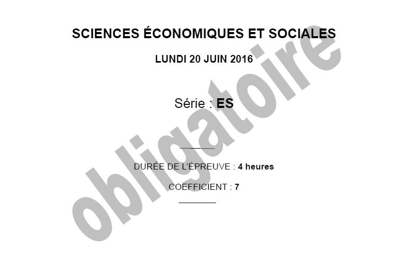 Capture d'écran Bac 2016 Sciences Economiques et Sociales