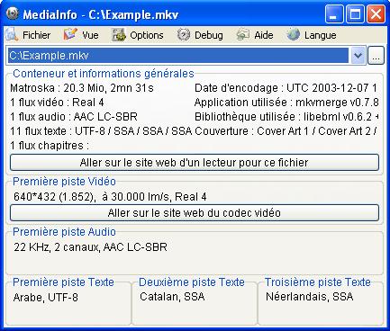 Capture d'écran MediaInfo