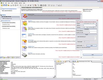 Capture d'écran Serial Monitor Protocol Analyzer