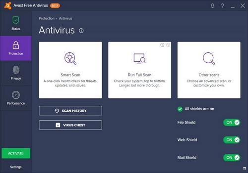 Capture d'écran Avast! Premier Antivirus 2017 bêta