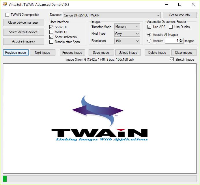 Capture d'écran VintaSoftTwain.NET SDK