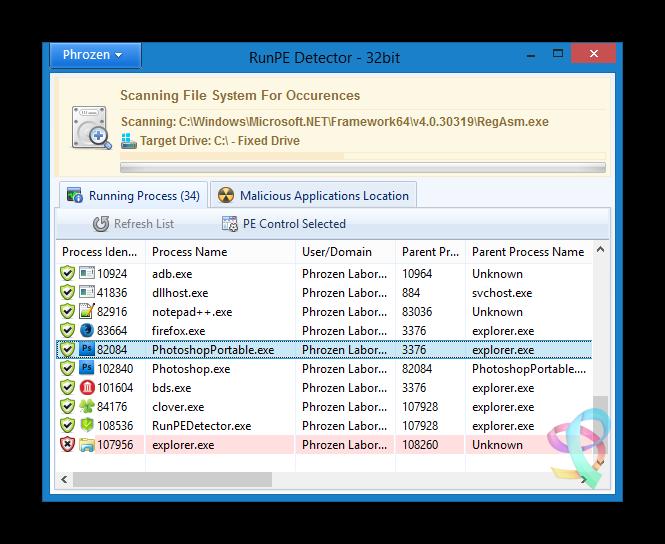 Capture d'écran RunPE Detector