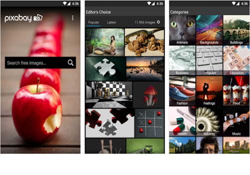 Capture d'écran Pixabay iOS
