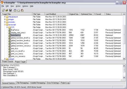 Capture d'écran w3compiler