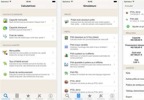 Capture d'écran Mes prêts, simulation de crédit iOS
