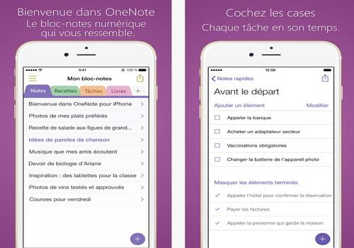 Capture d'écran OneNote iOS