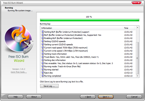 Capture d'écran Free ISO Burn Wizard