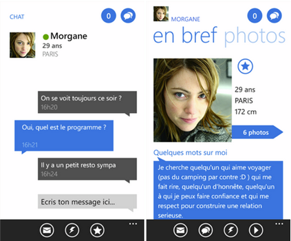 Capture d'écran Meetic Windows Phone