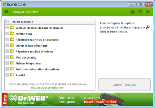 Capture d'écran Dr. Web CureIt!