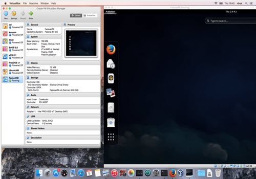 Capture d'écran VirtualBox