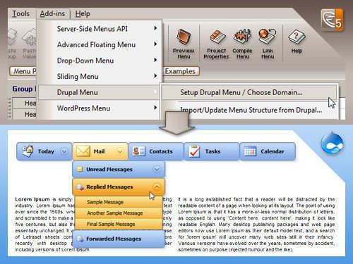 Capture d'écran Likno Drupal Menu Module / Addin