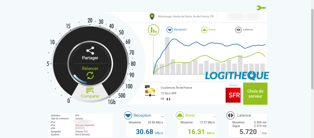 nPerf sin Windscribe screenshot