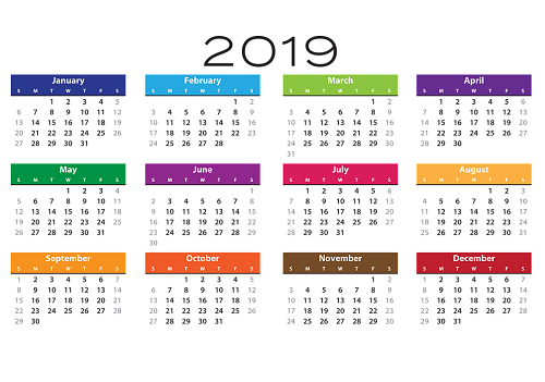calendrier 2019 simple