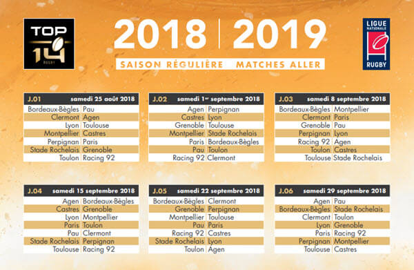 Calendrier Top 14 2018 - 2019