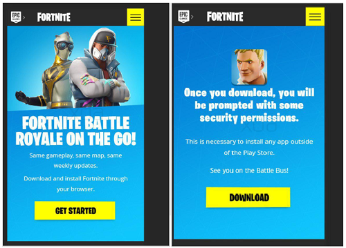 Captures d'écran décrivant les étapes d'installation de l'application Fortnite.